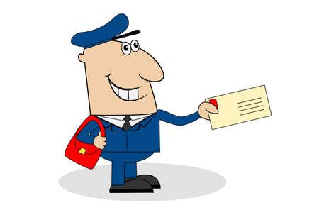 diligence: Jolly postman deliver the letter,vector illustration