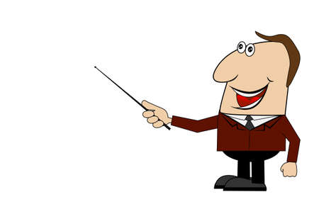 cheerful business man with a pointer in hand ,vector illustration Illustration