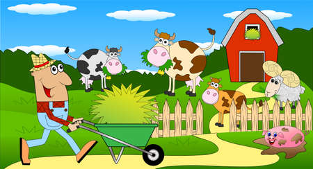 diligence: the farmer and the animals grazing on the green lawn ,vector illustration