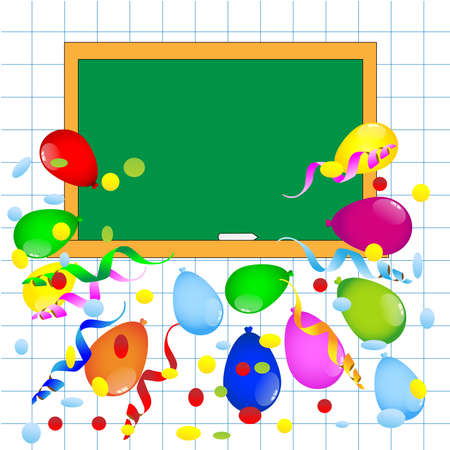 colored balloons: bright colored balloons and blackboard ,vector illustration Illustration