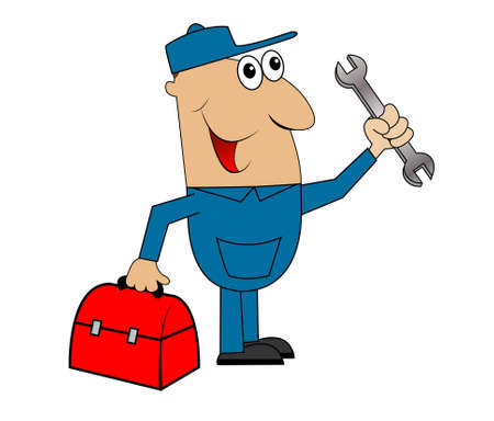 diligence: male mechanic standing with a wrench and a bag,vector illustration Illustration