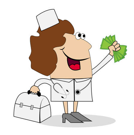 doctor money: Woman doctor with money in hand. Vector illustration. Illustration