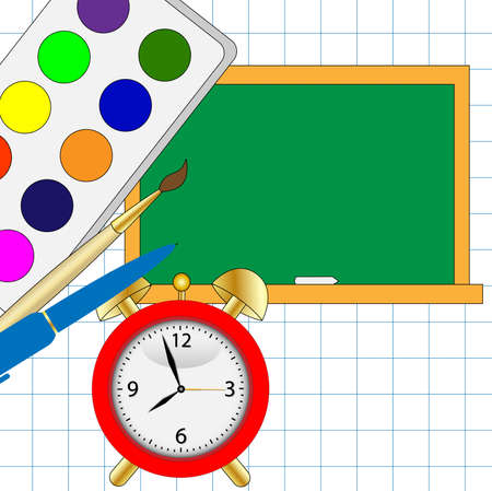 place to learn: colored watercolor,alarm clock and blackboard ,vector illustration