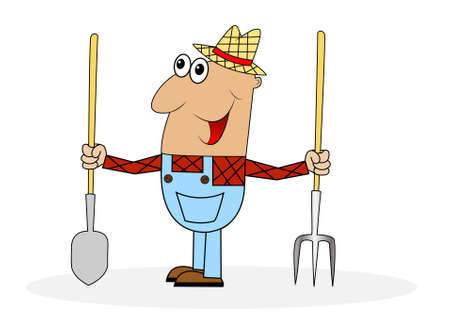 diligence: male farmer with tools ,vector illustration