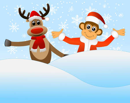 next year: Monkey and deer peeking out of a snowdrift, vector illustration