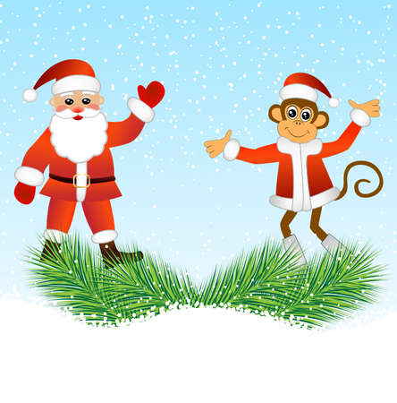 upcoming: Monkey and Santa Claus standing on the branches of spruce, vector illustration