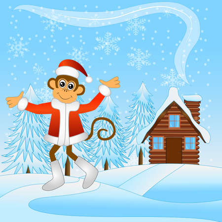 joyous: Monkey runs along the path of a wooden house, vector illustration Illustration