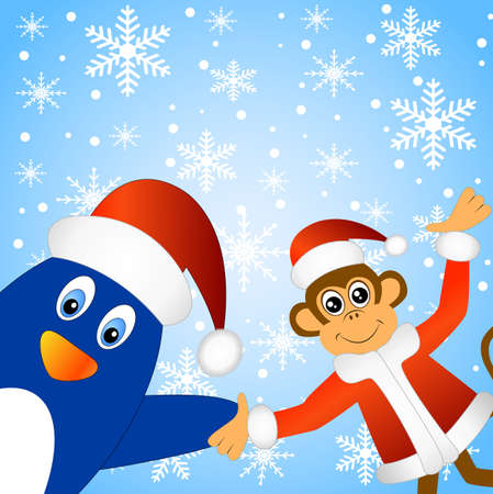 next year: Monkey with a penguin, vector illustration Illustration