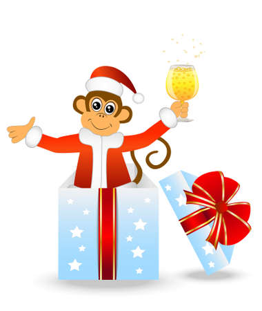 upcoming: Monkey with a glass of champagne in a gift box, vector illustration Illustration
