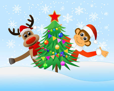 peek: Monkey and deer peek out from behind the Christmas tree, vector illustration Illustration