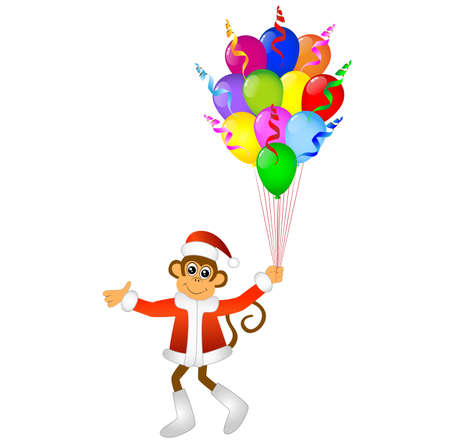 upcoming: Monkey with bright balloons, vector illustration