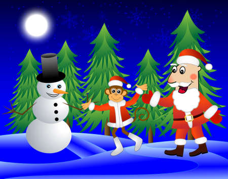 next year: Monkey , Santa Claus and snowman on the edge of the forest, vector illustration