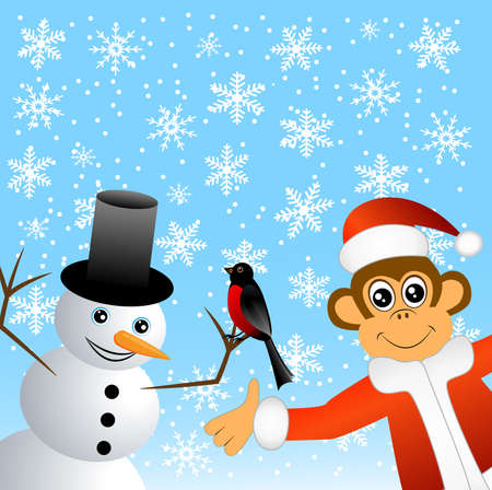 upcoming: Monkey with bullfinches and snowman, vector illustration