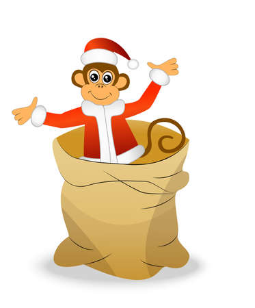 upcoming: Monkey in a bag on a white background, vector illustration Illustration