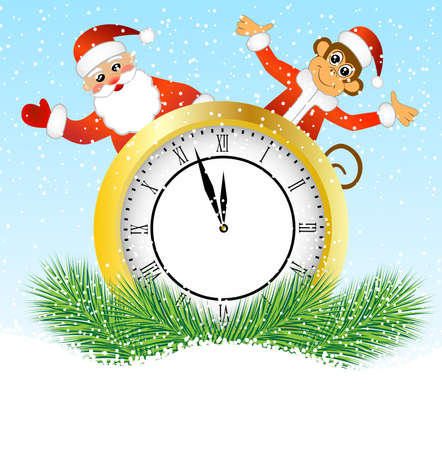 upcoming: Monkey Santa Claus peeking out of the clock, vector illustration Illustration