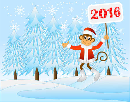 next year: The monkey with the tablet of 2016 runs on a winter wood,  vector illustration