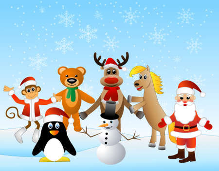 upcoming: Christmas card with animals, vector illustration Illustration