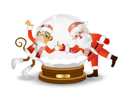 upcoming: Monkey and Santa Claus looking through a glass festive ball, vector illustration