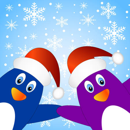 new year's cap: Two penguins on a blue background with snowflakes, vector illustration