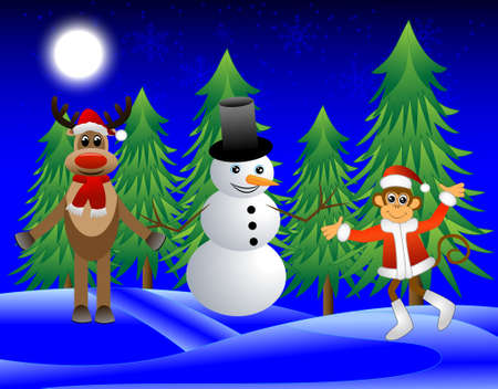 upcoming: Monkey, deer and a snowman on the edge of the forest, vector illustration