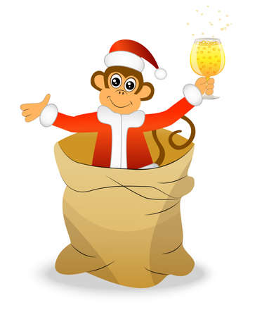 upcoming: Monkey with a glass of champagne in a bag, vector illustration Illustration