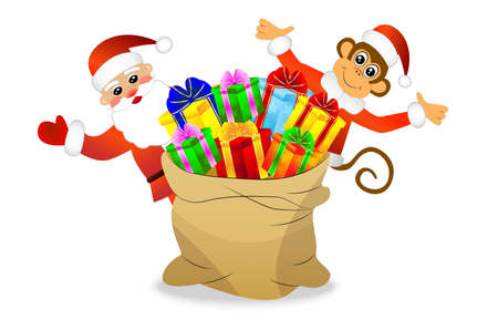 joyous: Monkey and Santa Claus with a bag of gifts, vector illustration