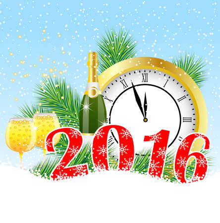 feathery: Christmas card with the numbers the year 2016,  clock and  champagne, vector illustration