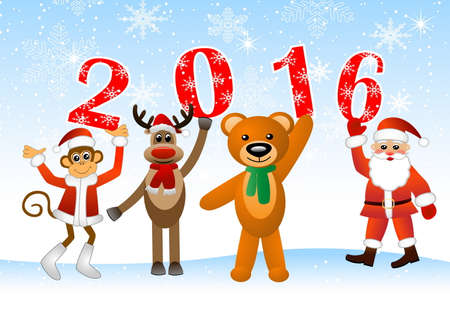 s horn: Monkey, deer, bear and Santa Claus holding numbers 2016, vector illustration