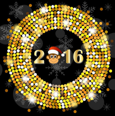 new year's cap: Christmas card with the numbers of the year 2016 and monkey, vector illustration