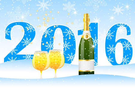 snowdrift: Christmas card with the numbers 2016 and champagne, vector illustration