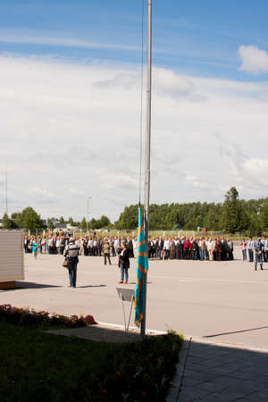 perm: Raising of a flag, grand welcome of veterans of aviation college of city of Perm Editorial