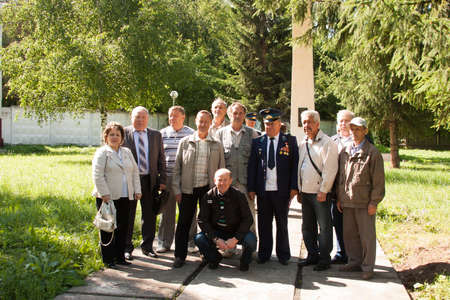 perm: People take pictures at a meeting of veterans of aviation college of city of Perm Editorial