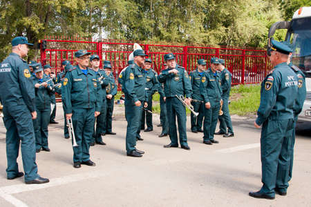 alumni: Military orchestra at a meeting of veterans of aviation college of city of Perm
