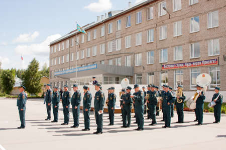 perm: Military orchestra at a meeting of veterans of aviation college of city of Perm