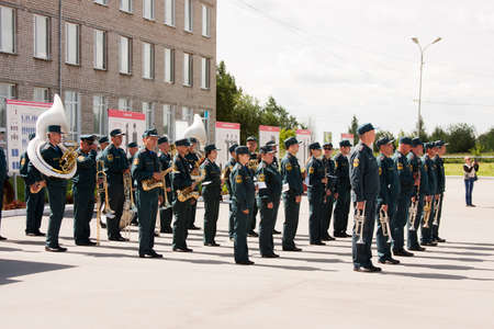 Military orchestra at a meeting of veterans of aviation college of city of Perm
