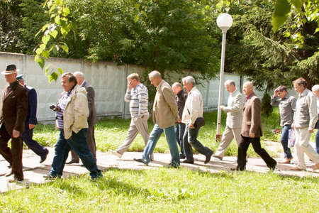 alumni: People go at a meeting of veterans of aviation college of city of Perm