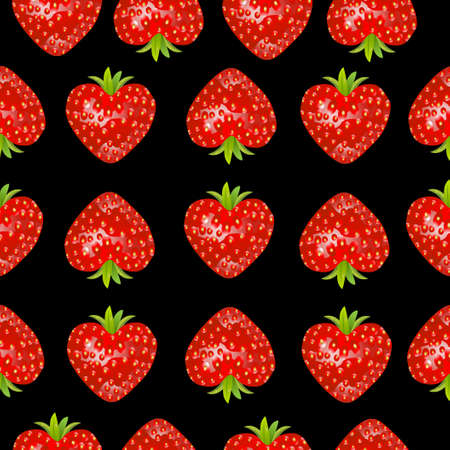 rich in vitamins: Seamless background with a strawberry,  vector  illustration Illustration