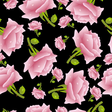 mildew: Seamless background with roses, vector illustration