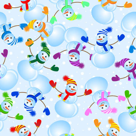 Seamless background with snowman, vector illustration