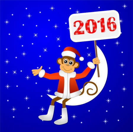 upcoming: monkey sitting on the moon and holding placards with the number 2016 ,Vector illustration