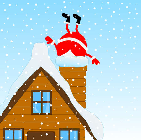 upcoming: Santa Claus climbing the chimney of a wooden house, vector illustration