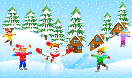 upcoming: children mold the snowman on the edge of the forest, vector illustration