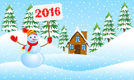 upcoming: snowman holding a poster with the numbers 2016 in the winter forest, vector illustration