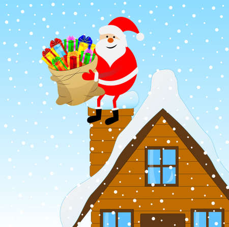 upcoming: Santa Claus sitting on a pipe of a wooden house with a bag of gifts, vector illustration