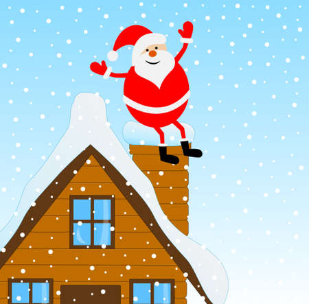 upcoming: Santa Claus sitting on a pipe of a wooden house, vector illustration Illustration