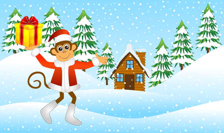 upcoming: monkey with a gift in the winter forest, vector illustration Illustration