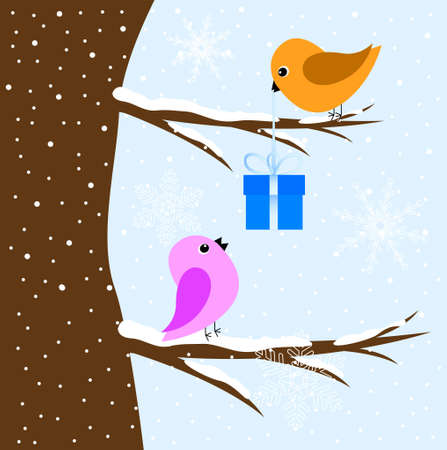 two birds: Two birds sitting on a tree, vector illustration