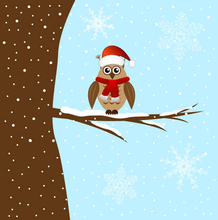 sits: The owl sits on a tree branch, vector illustration