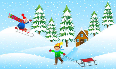 rolling landscape: Two cheerful boy sledding mountain, vector illustration