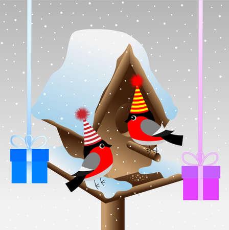 pillar box: Two bullfinch at the birdhouse with gifts, vector illustration Illustration